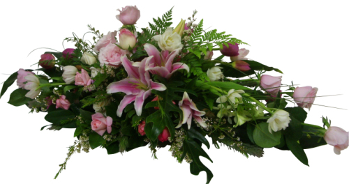 Rose, lily and tulip casket spray