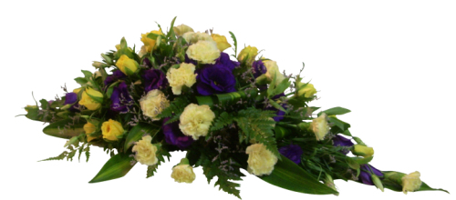 Purple and yellow casket spray