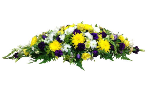 Yellow and purple funeral spray