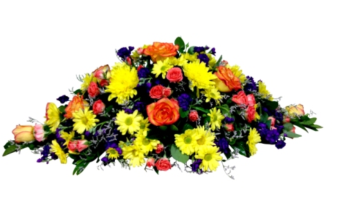 Bright seasonal casket spray