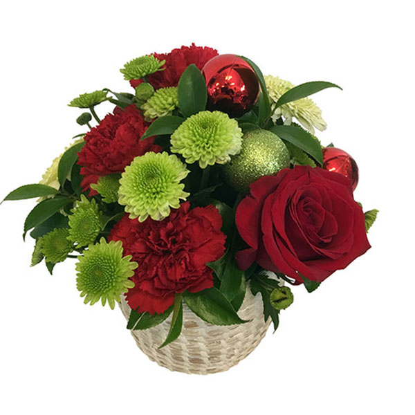 Christmas Flowers in a Woven Basket