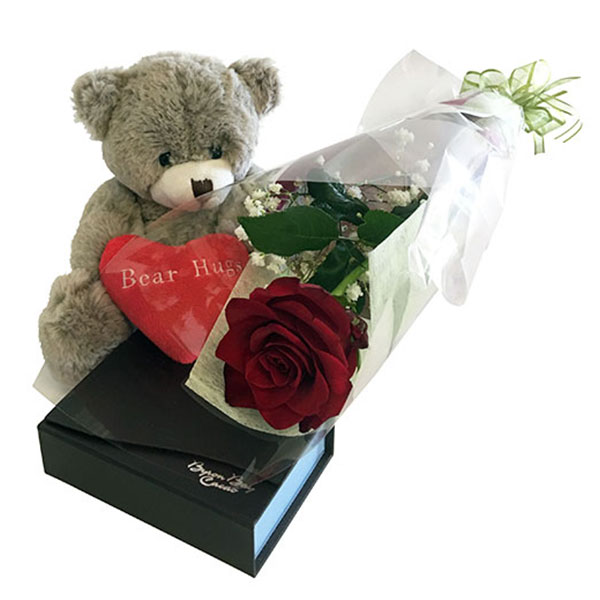 Bear Hugs Red Rose and Chocolates