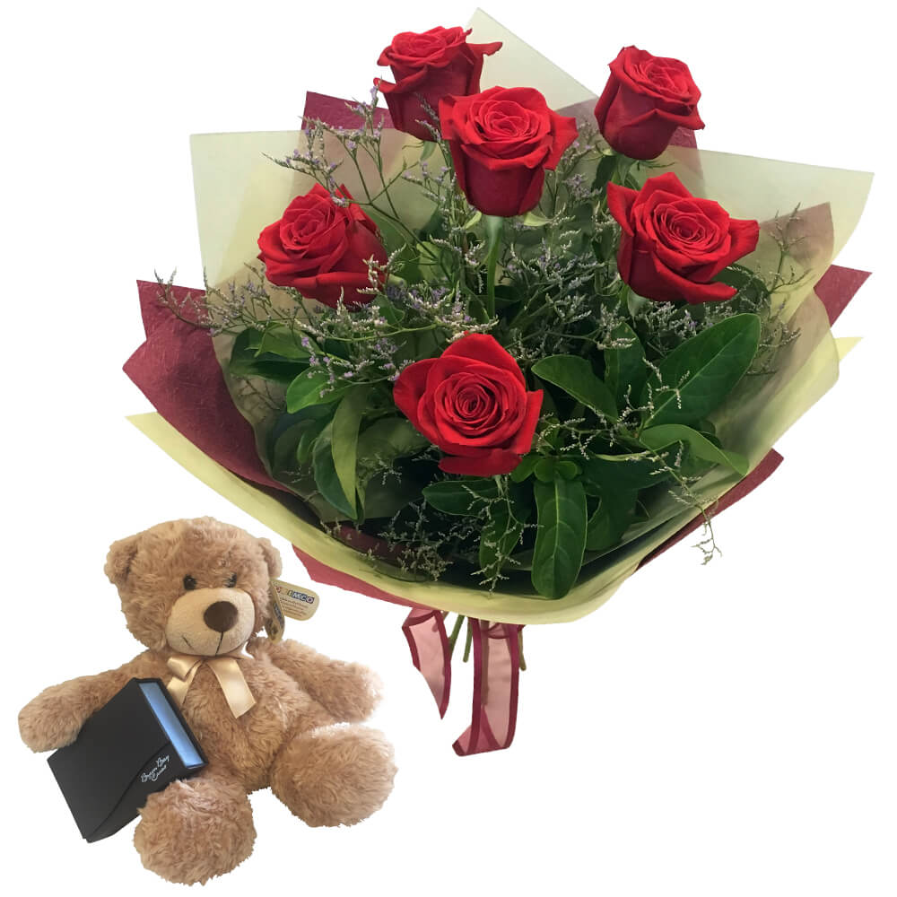 Roses Teddy Bear and Chocolates