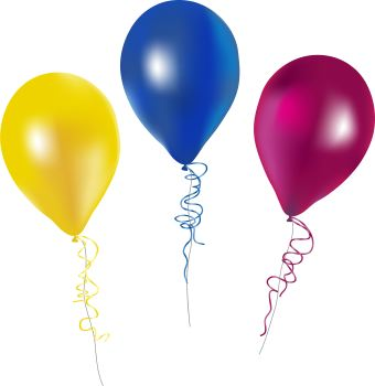 three helium balloons with ribbons