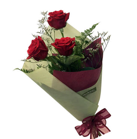 Three Premium Gift Wrapped Red Roses