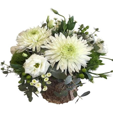 White Flowers in a Birch Bark Pot