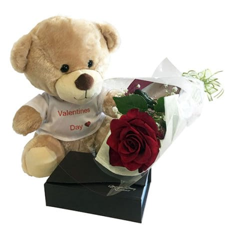 Happy Valentines Day Bear Rose and Chocolates