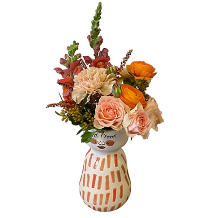 Miss Daisy Face Vase with Flowers