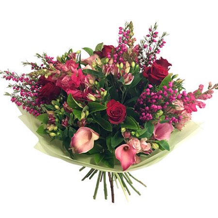 Red Roses and Pink Flowers Bouquet