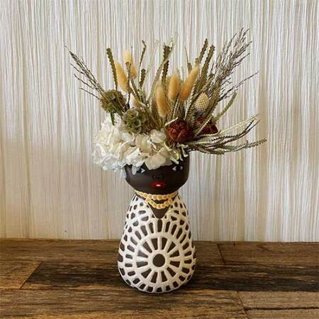 Gayle Face Vase with Dried Flowers