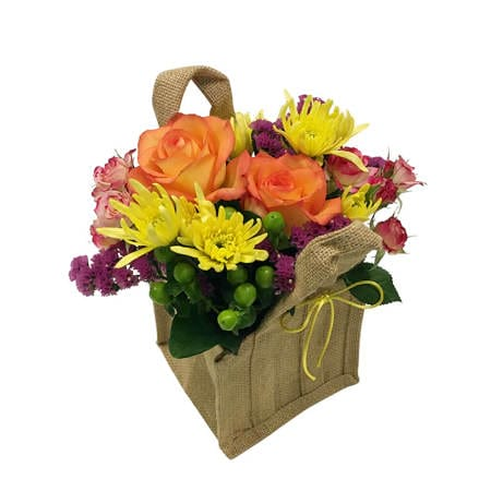 Summer Flowers in Hessian Bag