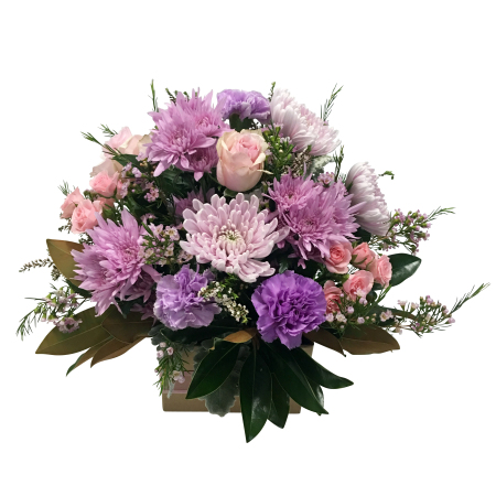 Seasonal Flower Box in Mauve and Pink