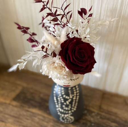 Coco Face Vase with Preserved Rose