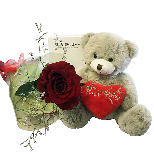 Long Stemmed Red Rose, Bear Hugs Bear and Gourmet Chocolates