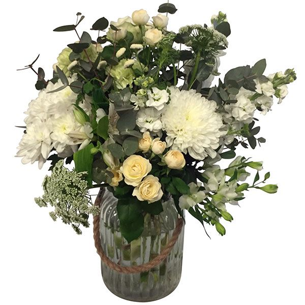 White Bouquet in a Hurricane Vase