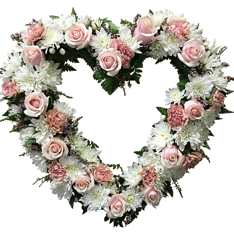 Pink and White Floral Heart Tribute